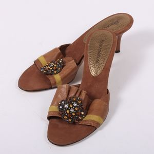 Enzo Angiolini brown leather kitten heel size 9
